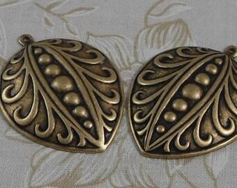 LuxeOrnaments Oxidized Brass Filigree Pendant (Qty 2) 40x30mm S-8558-B