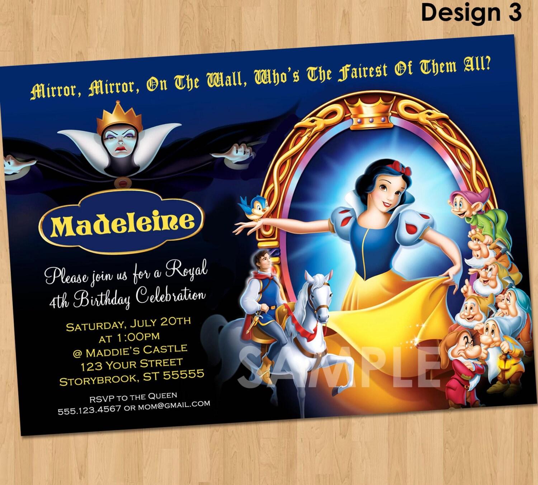 Snow White Party Invitation Custom Personalized 5x7