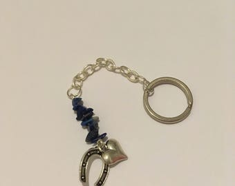 Silver Labradorite key ring with horseshoe and heart charms