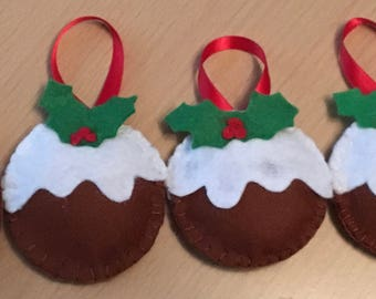 4 Hanging Christmas Puddings, Christmas Pudding Decoration, Christmas Tree Decoration, Hanging Christmas Decoration, Felt Christmas Pudding