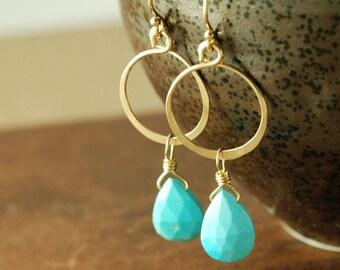 Turquoise Gold Hoop Earrings, December Birthstone Gemstone Dangle Earrings, Boho Turquoise Earrings
