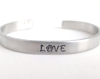 Love Cuff with Pawprint, Cats, Dogs, Rescue Animals, Pet Lovers