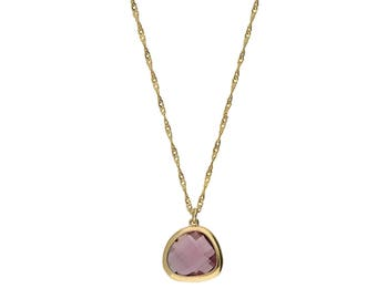 Gold Plated Asymmetric Pendant Necklace,  Light purple Crystal Glass