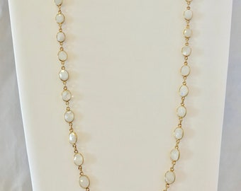 Faceted Moonstone Gold Necklace