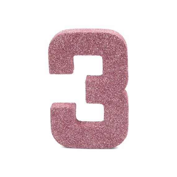 """8"""" Glitter Number 3, Paper Mache Number 3, Giant Blush Pink Number, Centerpiece Number Three, Table Letters, Large Decorative Pink Birthday"""