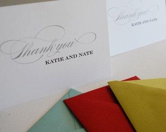 Design 02- Personalized thank you cards, custom colors, wedding stationery,  bulk notecards, destination wedding, gift, present