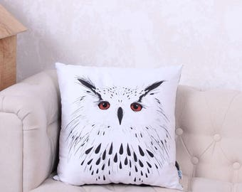 owl pillow white owl pillow black owl pillow owl lovers gift modern pillow modern decor home decor black monochrome decor nursery decor