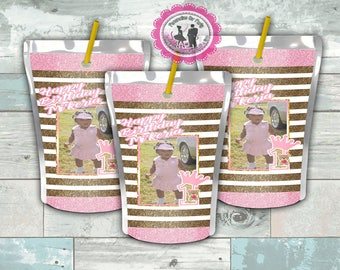 Juice pouch labels- custom party favors - baby girl 1st birthday - juice pouch - digital - printed - juice party favors- capri sun - jammers