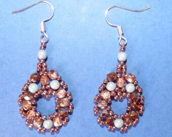 boucles d'oreilles romantiques perles bleu pâle