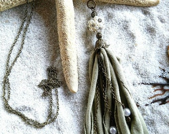 Pearl and tassel necklace, recycle green  tassel necklace. Long chain tassel necklace, bronze chain necklace, boho necklace,