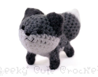 Gray Fox Plushie Toy Stuffed Animal Amigurumi Crochet