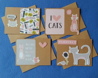 Four Handmade Greeting Cards for Cat Lovers, recycled kraft paper cat cards, blank cards - purr, I love cats, purrfect, all you need is love