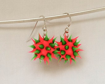 red and green spiky earrings, spiky rubber earrings, spiky ball earrings, silicone ball earrings, sterling silver and spiky ball dangles