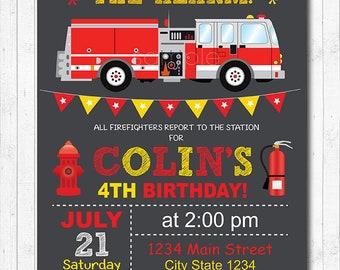 Firetruck Birthday Invitation, Firetruck Invite, Fire truck Invitation, Fire truck Party, Chalkboard, Digital printable Invitation