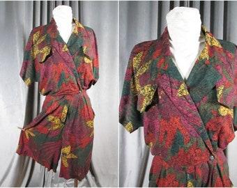 Vintage 90s Shorts Jumpsuit. Size S-M. Batik Style Hawaiian Print Skort Suit. Wrap Top Romper. Long Full Shorts. Yes.