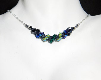 "Fairytale Villain Inspired Swarovski Crystal Necklace Beadweaving Sterling Silver - ""Mistress of All Evil"""