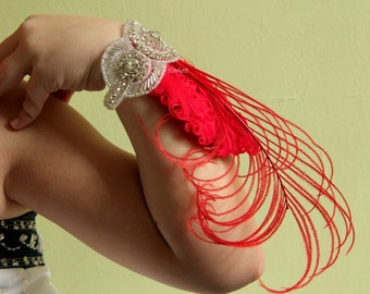 Red Feather wrist corsage, red prom corsage, red prom dress, 1920s corsage, Gatsby corsage, red party dress, red flapper dress,