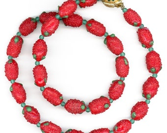 """Vintage Berry Bead Necklace Red Strawberry Fruit Salad Style 23"""" Long"""