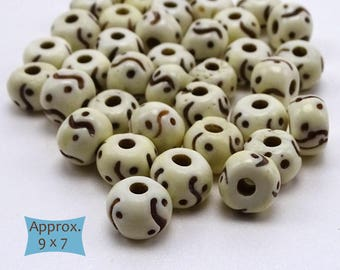 Bone Rondelle Beads Yin Yang Pattern--10 Pcs. | 20-BN317-10