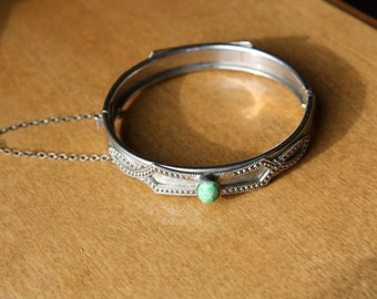 Whiting and Davis Co. Silver Tone & Green Bangle Bracelet, Signed