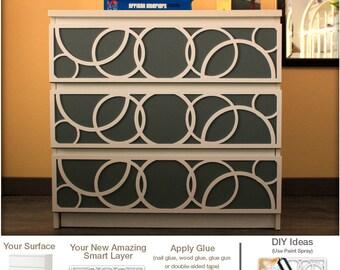 DIY - Overlays - Furniture Appliques - Makeover - Fretwork - Glam Decor - Malm - Furniture Applique - Lattice - Refurbish - SKU:Spheres