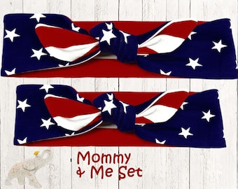 Mommy & Me Set || Top Knot Headband || Reversable Top Knot || Knotted Headband - Stars and Stripes Reversable Cotton Knit