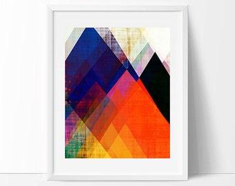 mountain art, geometric art, contemporary art print, modern art print, colorful wall art, midcentury art, scandinavian design, art, modern