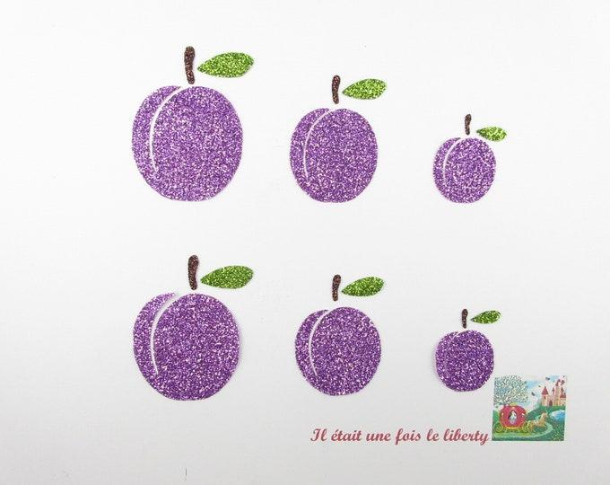 Applied fusible plums in purple and green patch glitter flex pixel fruit decor kitchen apron jam glitter pattern