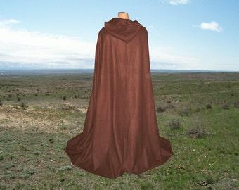Brown Cloak Cape Fleece Hooded Costume Renaissance Medieval Gothic Wedding Halloween