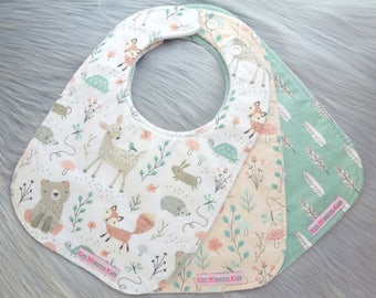 Baby Bibs Set of 3, Baby Girl Gift, Baby Shower Gift, New Mums - Woodland