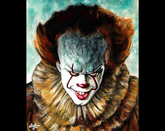 "Print 11x14"" - Pennywise - Clown Stephen King Horror Fantasy Drama Comedy Monster Creature Scary Halloween Serial Killer Pop Art Ruff Evil"