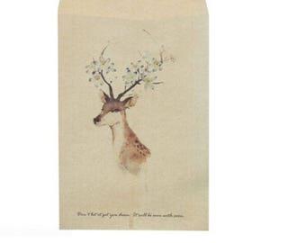 2 deer head pattern craft envelopes/pockets