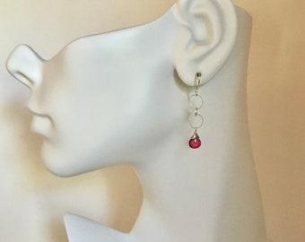 Tourmaline gemstone silver dangle earrings