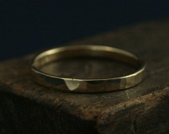 Yellow Gold Flat Band--Women's Wedding Ring--Hammered Gold Ring--2mm Straight & Narrow--14K Gold Band--Thin Hammered Band--Stacking Ring
