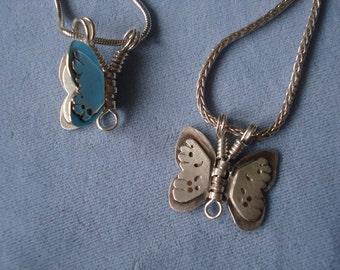 Blue Butterfly Necklace, sterling silver with copper, hinged wings that move, different on the opposite side.