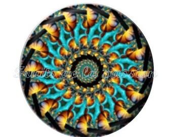 1 cabochon 25mm, vintage, round glass kaleidoscope