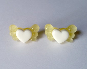 Yellow Winged Heart Stud Earrings - Kawaii Earrings Kawaii Jewelry Fairy Kei Jewelry Fairy Kei Earrings Pop Kei Jewelry 80s Fashion