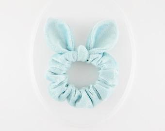 Knot Bow Scrunchie Soft Hair Tie, Light Aqua Mint