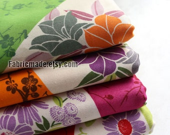 Japanese Kimono Fabric Shabby Chic Fabric, Cotton Satin Floral Fabric in Green Orange Rosy Red For Quilting Bedding-1/2 yard