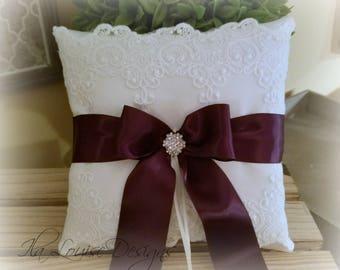 Ring Bearer Pillow, Ivory Ring Bearer Pillow, White Ring Bearer Pillow, Lace Ring Bearer Pillow