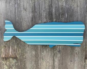 Coastal Nautical Striped Wooden Whale
