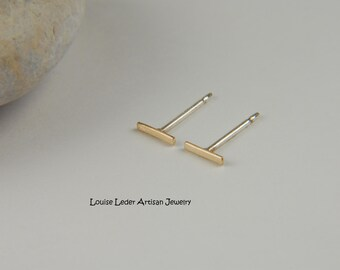 Tiny Gold Studs Gold Bar Earrings Tiny Bar Earrings 14K Gold Line Earrings Dainty Earrings Minimalist Earrings