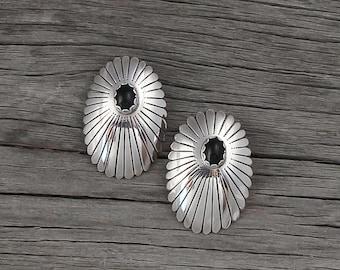 Sterling Silver Concho Onyx Silver Post Earrings, Handmade Onyx Earrings, Sterling Silver post earrings, Onyx earrings, gift for women