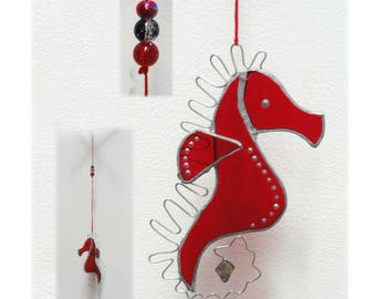 Stained glass seahorse sun-catcher hanging pendant mobile