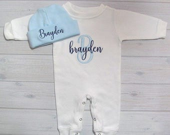 Baby Boy Coming Home Outfit Sleeper Romper Hat Newborn Personalized Embroidered Baby Clothing Monogram Baby Shower Gift Take Home