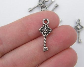 12 Key charms antique silver tone K9
