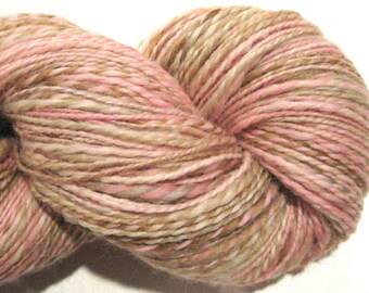 Handspun yarn, Dogwood, DK weight, 2 ply, 388 yards, BFL wool yarn,  knitting supplies, pink yarn, brown yarn, crochet supplies, weaving
