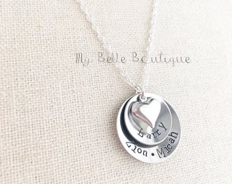 Personalized Double Stacked DOMED Cupped Hand Stamped Names Necklace with Silver Tone Heart Charm