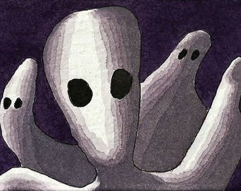 ACEO. Artist trading card. Original watercolour. 'All Souls Day'