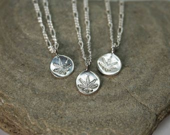 Sterling Silver Dainty Hemp Charm Necklace on 925 figaro chain